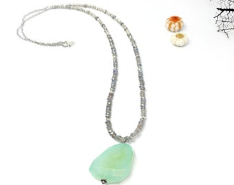 Long sea green chalcedony labradorite and pyrite silver necklace