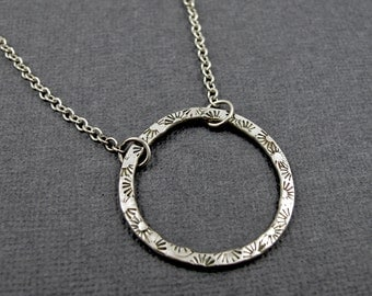 Circle Necklace - Sterling Silver Stamped Sunbursts and Dots