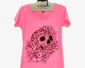 XL- Heather Neon Pink Scoop Neck Tee with Sugar Skull Screen Print