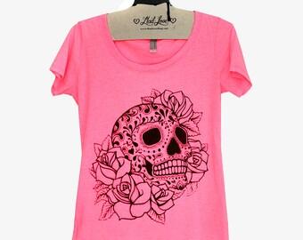 M- Heather Neon Pink Scoop Neck Tee with Sugar Skull Screen Print