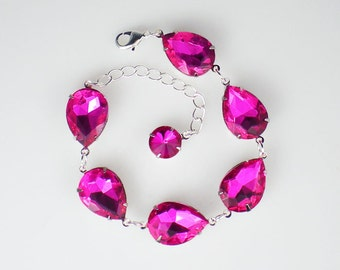 Fuchsia Hot Pink Rhinestone Bracelet Pink Fuchsia Wedding Bridesmaid Jewelry MADE TO ORDER