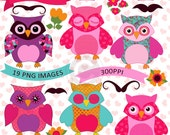 Owls Clip Art, Valentine Owls Clip Art, Digital Scrapbooking Elements, Owl Graphics, Mustache Clip Art, Banners Clip Art, Owls Digital Art