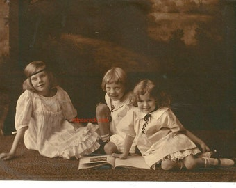 Idyllic Edwardian children reading antique photo sailor dress fashion book sepia family