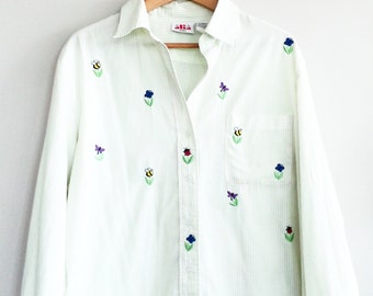 Button down vintage blouse, 1970s style blouse, vintage blouse, Large, Size 16, button front blouse, embroidered blouse, gift for her