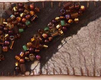 earthy abstract beaded original batik brown white orange purple seed beads embroidered e OOAK fiber textile mixed media