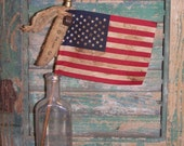 Primitive American Flag - AMERICA, Rustic Americana Decor, Parade Flag, Primitive Flag, Stick Flag, Rustic Flag, Stamped Tag - Ready to Ship