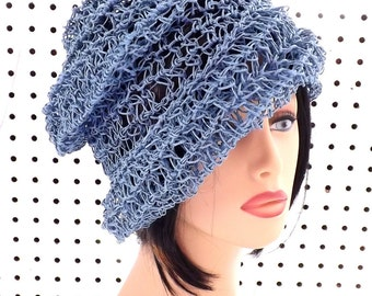 Crochet Sun Hat, Floppy Sun Hat, Floppy Hat, Womens Hat Trendy, Womens Crochet Hat, Hemp Hat, Crochet Beanie Hat, Light Blue Hat, Ombretta