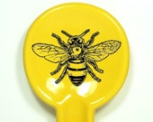 spoon rest with a bee print, shown on lemon butter yellow - Made to Order / Pick Your Colour