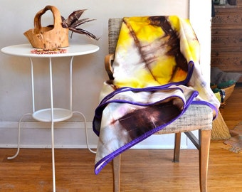 Hand Dyed Wool Throw Blanket in Yellow Brown Purple Cream/ Eco Natural Dye 100% Wool