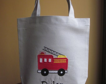 TOTE BAG Firetruck Personalized Toddler or Big Kid Tote