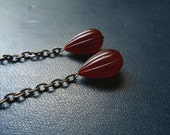 reduced - the fury - red fluted tear drop earrings - acrylic and oxidized copper - witchy vintage repurposed jewelry