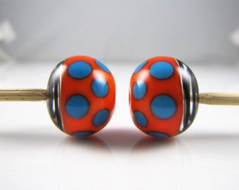 Orange and Blue Spots Hollow Lampwork Glass Bead Pairs