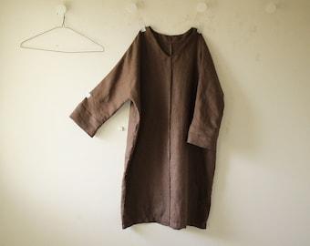 LINEN DRESS - GRACE / v neck / women linen clothing / linen tunic dress / organic / eco / flax tunic / made in australia / pamelatang