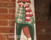 Original Folk Art Mixed Media Painting on Wood - Bundled Up