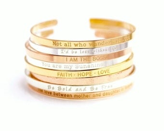 Gold Cuff Bracelet, Personalized Silver Cuff Bracelet, Band Cuff, Positive Inspirational Quote Cuff Bracelet, Stacking Bangle