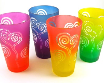 Spiral Heart 20oz Pint Glasses - Set of 4 - Etched and Painted Glassware - Ready to Ship