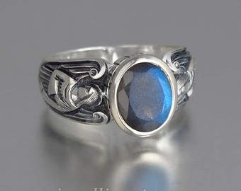 GUARDIAN ANGELS silver ring with Labradorite (sizes 5 to 8.5)