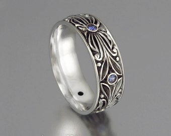 The COUNT silver and lab alexandrites wedding band