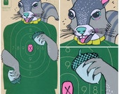 Squirrel - Hand Painted Paper Shooting Target Art