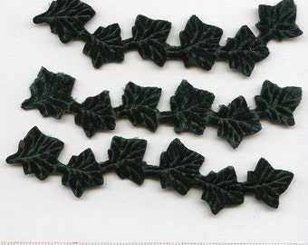 EMERALD Green IVY Leaves Vines (3) Millinery Handmade Pressed Pieces Large  Embossed from Antique Molds Leaf Hand MadeMORE AVAlLABLE