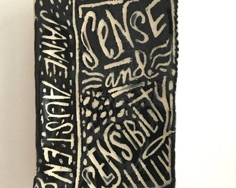 Ceramic Sense and Sensibility by Jane Austen ... Small Stoneware Book Plate/Dish ... one of a kind