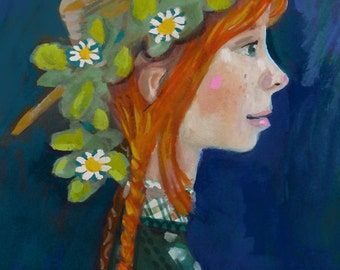 Anne with an E •  Anne of Green Gables by L.M. Montgomery portrait series • limited edition print • giclee • portrait • books • shirley •art