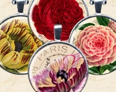 Vintage Flower Postcard Digital Collage Sheet Printables in 1.5 Inch Circles for Pendants, Glass Tiles, Bottlecaps & More piddix 1079