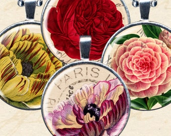 Flower Postcard Vintage Printables in 1.5 inch circles for pendants, glass tiles, bottlecaps and more -- piddix digital collage sheet 1079