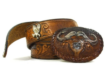 60s Tooled Leather Belt / Buffalo Buckle / Vintage 1960s Hippie Boho Western Brown Leather Belt / Monogram John / Southwest American Eagle