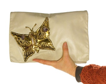 RESERVED Butterfly Clutch Bag with Handmade Brutalist Style Brass Butterfly & Natural Amethyst Stones / Vintage 1980s Bohemian Creme Leather