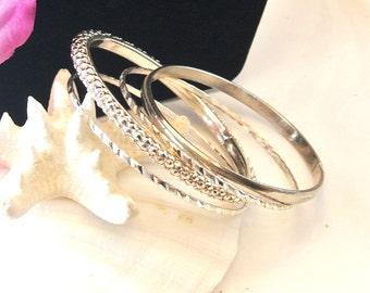 4 Silver Tone Bangle Bracelets, Vintage Metal Bangles, Silvertone Metal Bracelets, Christmas Gifts