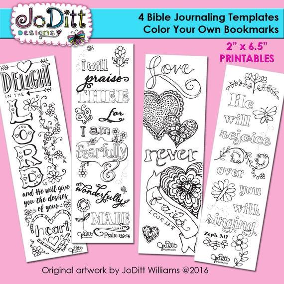 4 Bible Journaling Templates Bookmarks by JoDitt Designs