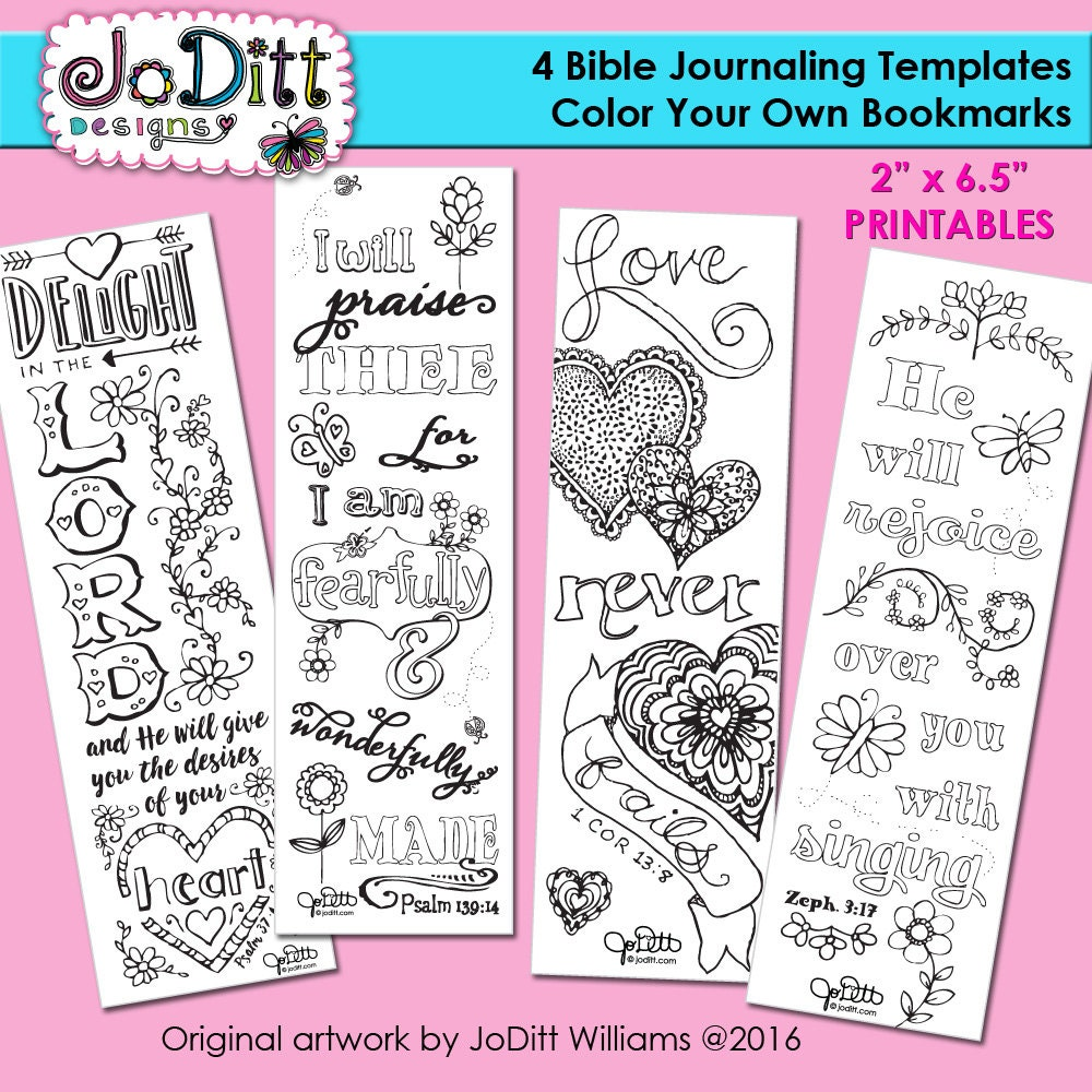 4 bible journaling templates bible verse bookmark coloring