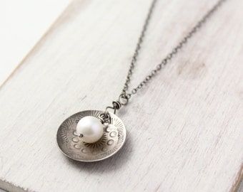 Stamped Silver and Pearl Oxidized Silver Necklace