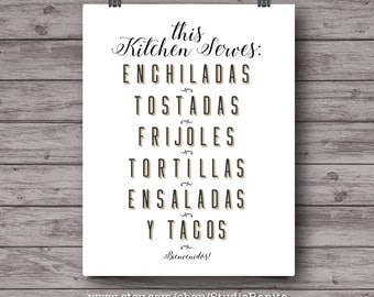Mexican Kitchen print, hispanic decor print, tex-mex, bilingual typography poster, Mexico, Texas Arizona new mexico kitchen, Abuela, spanish