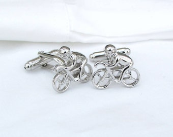 Silver Bike Cycling Cufflinks