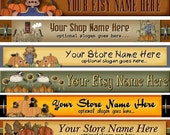 Raggedy Dreams  Designs - Premade Etsy Shop Banner - Etsy Banner - SHOP ICON - Primitive Halloween Annies Pumpkins Fall Sunflowers
