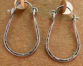 Rustic Jewelry Sterling Silver Hoop Earrings Oxidized Hammered Silver Hoops Horseshoe Hoops Equestrian Jewelry Western Jewelry Hinged Hoops