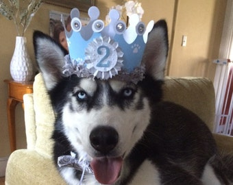 Boy Dog Birthday Crown- Party Hat