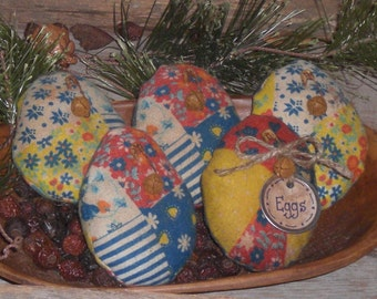 5 Primitive Rustic Olde Time Fabric Faux Patchwork Fabric Easter Eggs Ornies Ornaments Tucks Bowl Fillers