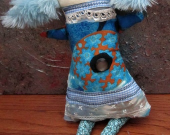 Primitive Folk Art Doll Bluebell