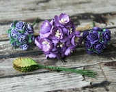 40pcs Purple Paper Flowers . Wedding Paper Flowers . Small Paper Flowers . Millinery Flowers Paper Roses . Corsage and Boutonniere Supplies