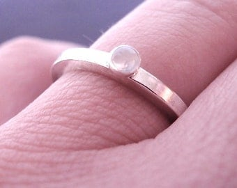 Moonstone Stack Ring- Silver Stack Ring