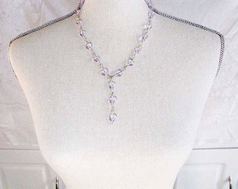Sterling Silver Wire Wrapped Lavender Heart Bead Y Necklace handmade  Statement necklace Readesign 119