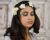 Bridal Flower Crown, Woodland Headpiece, Ivory, Lace, Bridal Crown, Boho Headband, Floral Crown, Floral Headpiece, Flower Wreath, Rustic