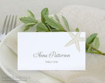Printed Starfish Place Cards, Beach Wedding Place Cards, Destination Wedding Place Cards, Sea Star Starfish Tented Wedding Place Cards