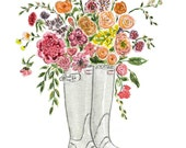 5x7 Floral Art, Floral Watercolor,Boots, Garden art, Flowers Illustration Farmhouse Art, Children's Wall Art, Nusery Decor