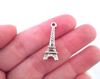 silver plated eiffel tower charms, pick your amount, G32