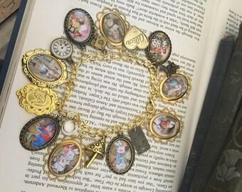Alice in Wonderland Charm Bracelet, Alice in Wonderland, Alice Charm Bracelet, Charm Bracelet, Gold Charm Bracelet, Gift for Her