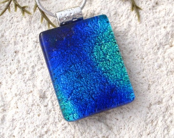 Petite Blue Green Necklace, Dichroic Jewelry, Dichroic Glass Necklace, Fused Glass Jewelry, Fused Glass Pendant, Glass Necklace, 100716p109